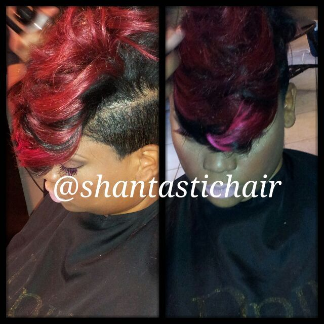 Mohawk Quick weave inspired by Breast Cancer Awareness Month.  #Pinkforthecure   #mohawk #quickweave #pinkhair #weaves