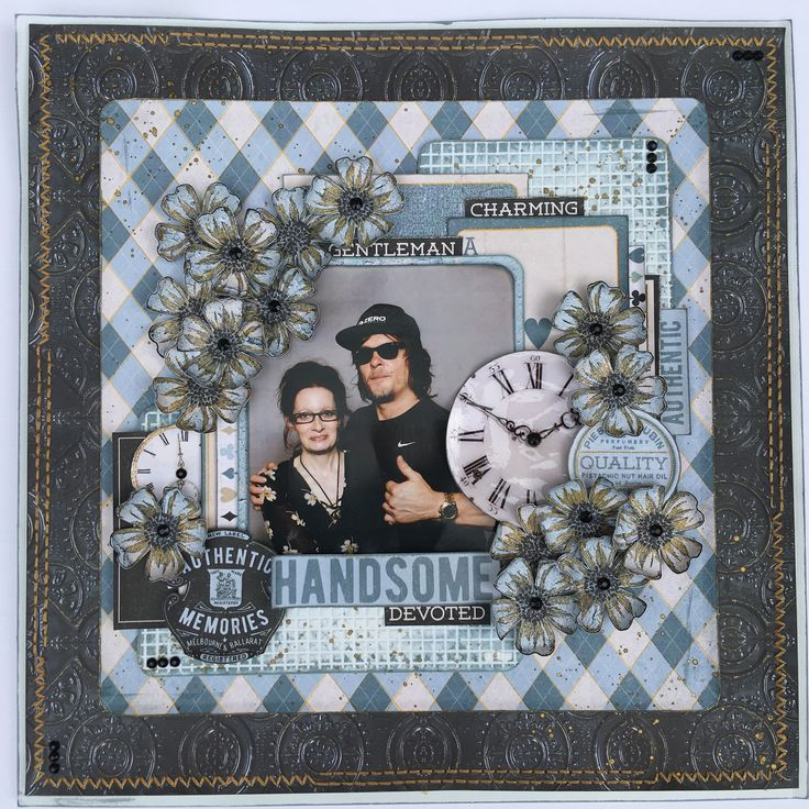 Layout for the Merly Impressions September 2017 crop kit, using the Barber Shoppe Kaisercraft collection.