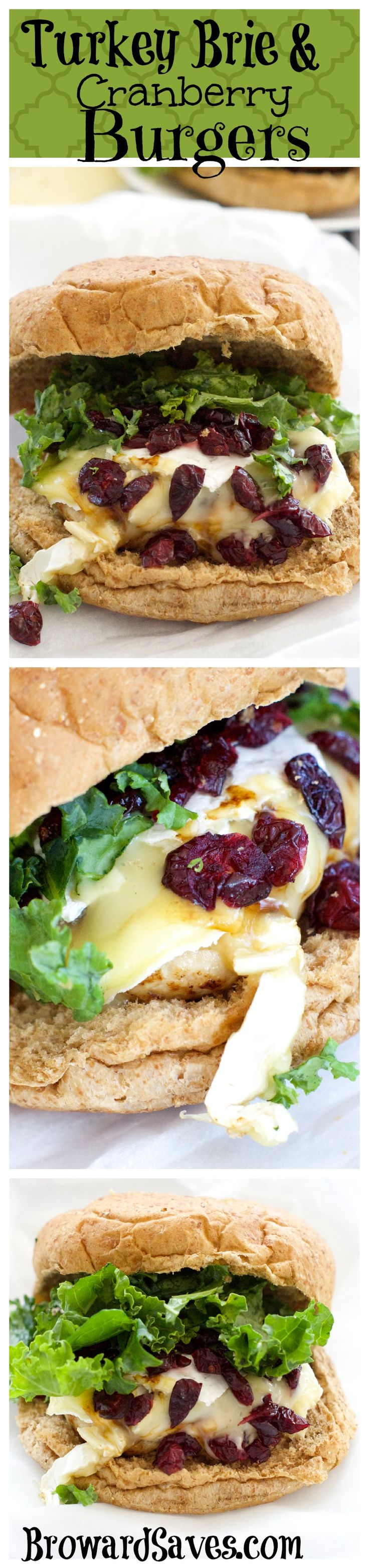 Turkey Brie and Cranberry Burgers - On your table in 15 minutes or less. So easy and delicious to make! Combine the robust turkey patty with the creaminess of the brie alongside the pepperiness of the Kale and the sweetness of the Cranberries. Yumm!