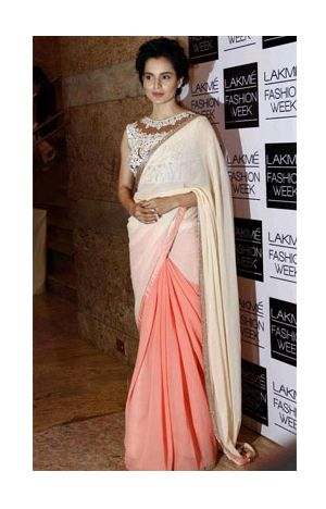 Kangana Ranaut in creama nd peach color half saree