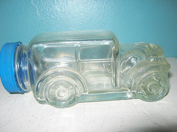 Clear Glass Car Shaped Jar With Blue Plastic Lid Bubble Gum Jar Vintage Candy Jar Cars Jars