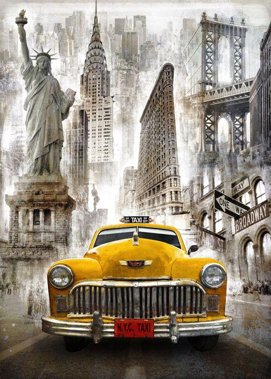 BRS_010_Cuadro Taxi New York @@@@.....http://www.cuadrostock.com.mx/products/Cuadros_Nueva_York-3910_3911.html €€€€€€€€€€€€€€€
