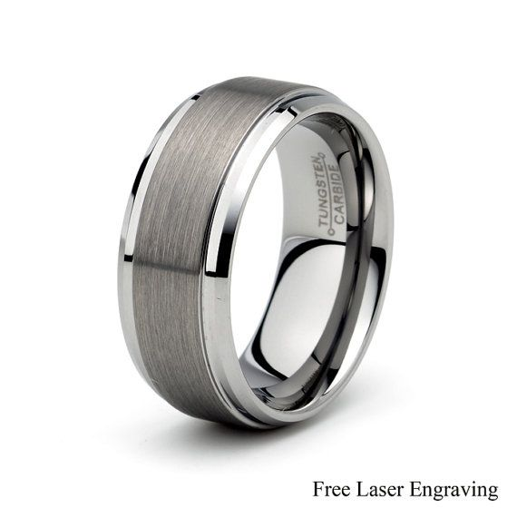 Mens Tungsten Carbide Wedding Band Brushed Polished by carat323