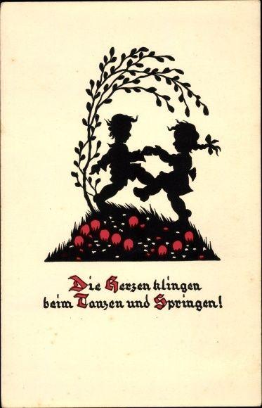 Scherenschnitt Ansichtskarte / Postkarte Boldt Kaiser, Die Herzen klingen, Tanzen, Liebespaar