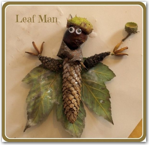 Kids craft - create a leaf man with Fall leaves
