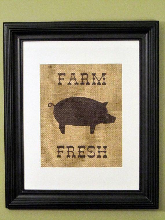Burlap Art Kitchen Decor Pig Print Burlap Sign By OurHomeOurHands, $19.00