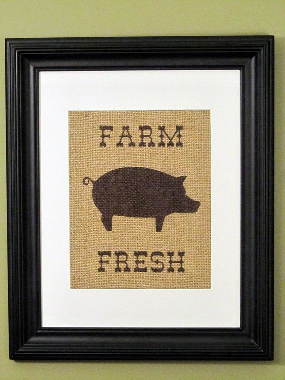 Burlap art kitchen decor pig print burlap sign by Pig kitchen decor