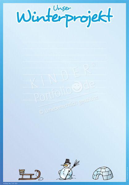 """Kindergarten Portfolio Vorlagen """"Unser Winterprojekt"""""""