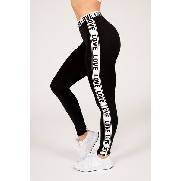 Women's RAG Womens Active Running Love Band Legging - Plus Size... ($14) ❤ liked on Polyvore featuring activewear, activewear pants, black, plus size activewear pants, plus size activewear, women's plus size activewear, plus size sportswear and yoga activewear