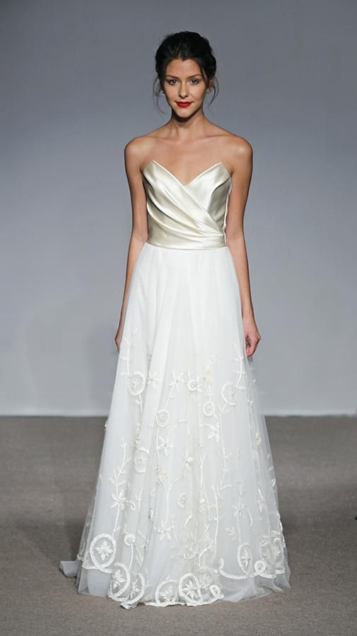 Anna Maier | Spring 2013 | Style: Ingrid | Hand embroidered tulle gown with draped duchess satin bodice. www.wedsociety.com  #wedding #gown #fashion