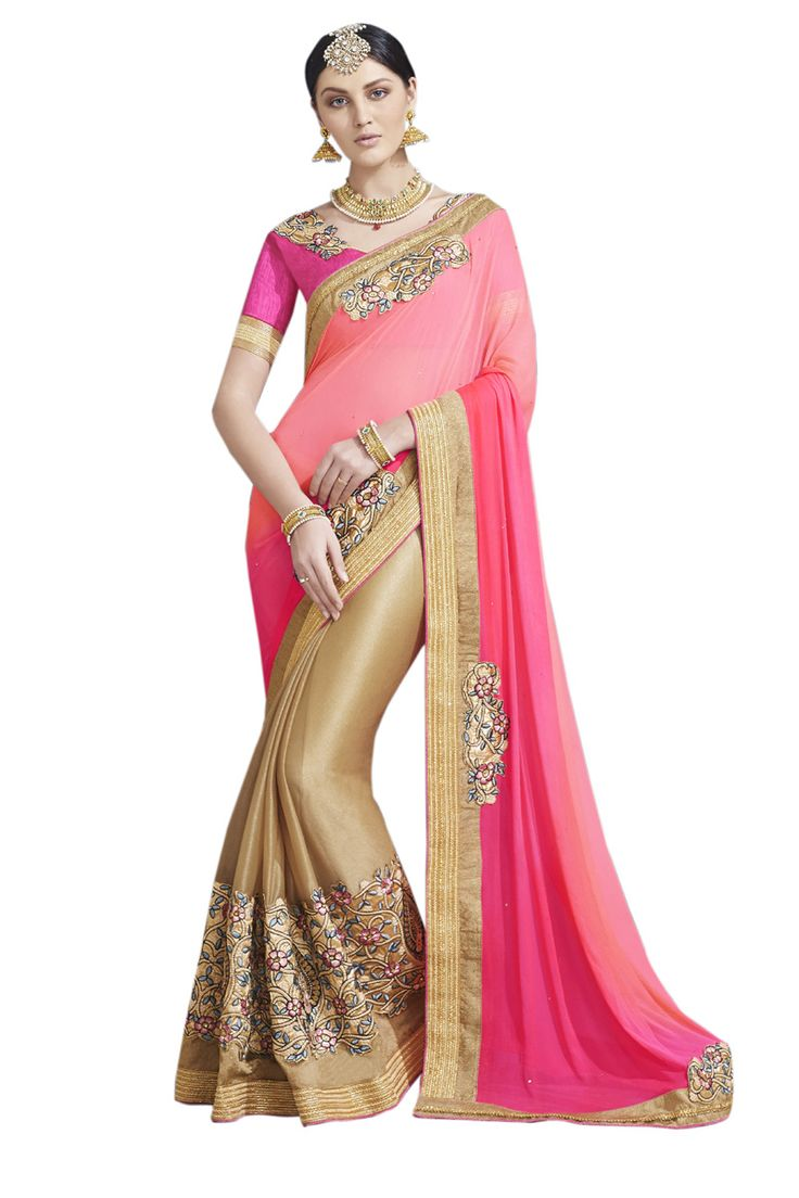Buy Now Pink-Beige Embroidery Work Georgette-Lycra Half-Half Fancy Saree only at Lalgulal.com. Price :- 2,552/- inr. To ‪#‎Order‬ :- http://goo.gl/awujnB To Order you Call or ‪#‎Whatsapp‬ us on +91-95121-50402 COD & Free Shipping Available only in India.