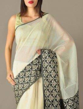 Beige-Black Mosaic Floral -- Handwoven Glass Cotton Saree by Apparel