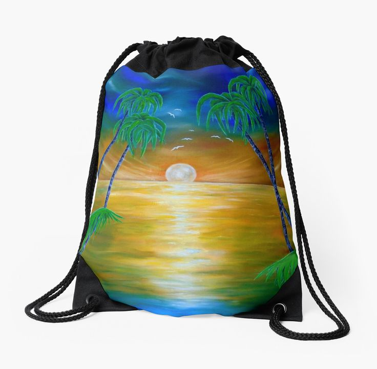 Drawstring Bag,  colorful,beautiful,fancy,unique,trendy,artistic,awesome,fahionable,unusual,accessories,for sale,design,items,products,gifts,presents,ideas,tropical,sunset,palmtrees,sea,redbubble