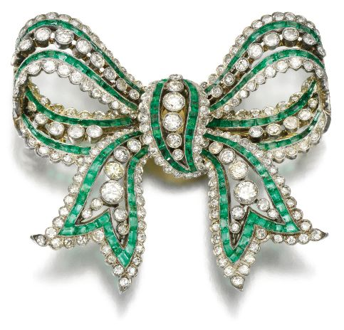 Emerald and diamond brooch, 1910s. Via Sotheby's. | Diamonds in the Library