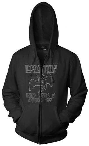 Led Zeppelin Hoodie - Led Zeppelin United States of America 1977 Tour. Black Hooded Sweatshirt