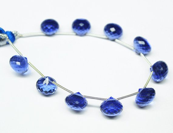 Bead Sapphire Blue Quartz Onion 10mm handcut by jewelsexports, $34.00