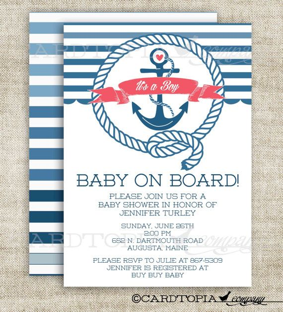 nautical baby shower invitation with anchor and banner custom digital file with printing option