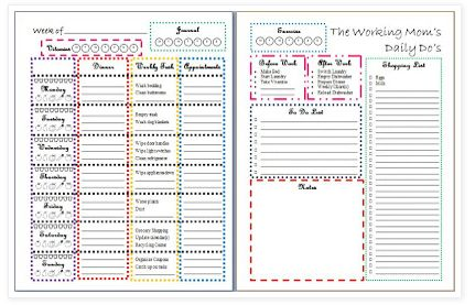 Free printable Weekly Organizer & free printable Working Mom's Daily Do's