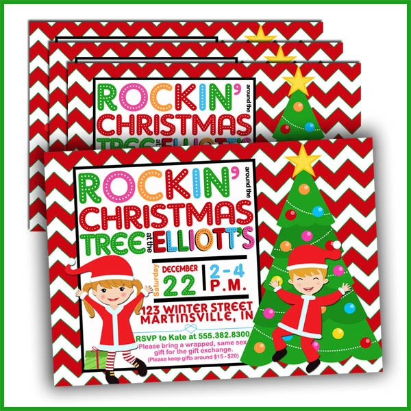 Rockin' Around the Christmas Tree Invitations by Lullaby