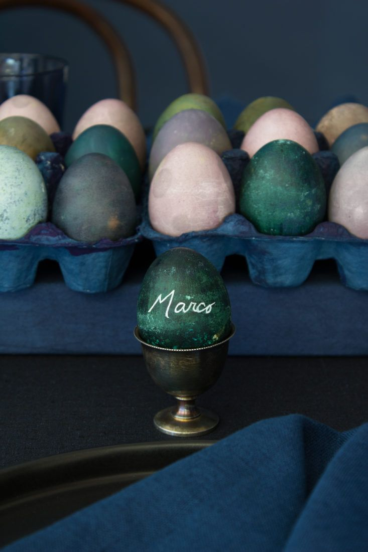 Event designer David Stark set a modern jewel-toned DIY table for Easter brunch using brown and white eggs colored with all-natural fruit and vegetable dye.
