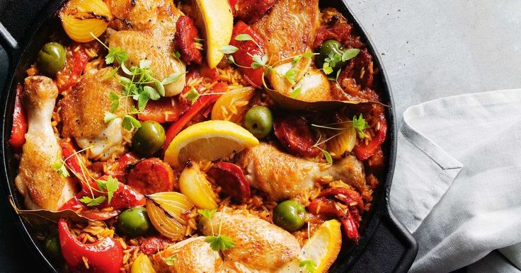A one pot chicken dinner sensation with spicy sausage and fragrant rice.