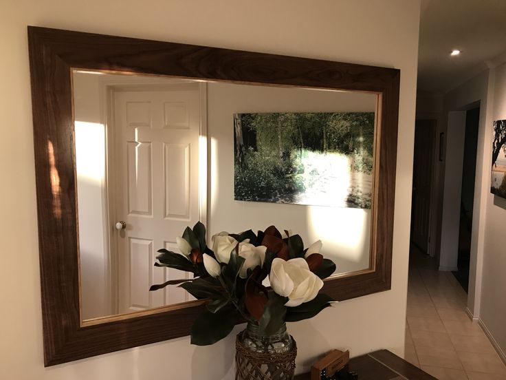 American Walnut timber Mirror with American Oak highlights