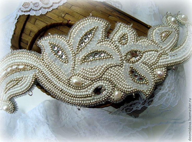 """Купить Головное украшение """"Цветы. Арт Нуво."""" - бежевый, свадьба, свадебный аксессуар"""