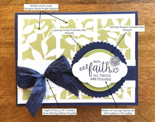 Ribbon of Courage and Layering Circles Framelits Dies Support Card.  Mary Fish, Stampin' Up! Demonstrator.  1000+ StampinUp & SUO card ideas.  Read more https://stampinpretty.com/2017/07/ribbon-courage-friend-card.html