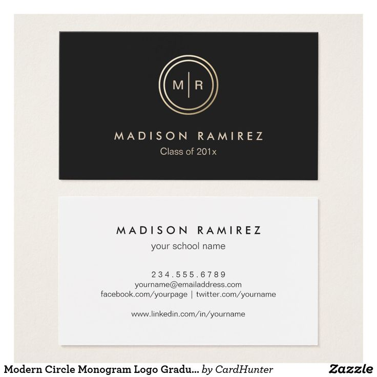 business letter format with enclosure%0A Modern Circle Monogram Logo Graduate Students Business Card