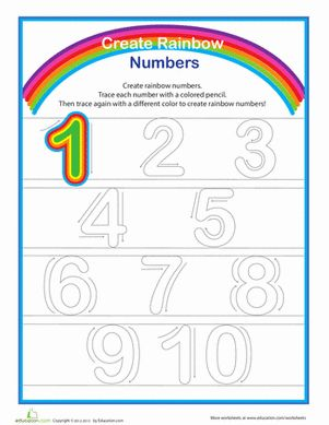 rainbow numbers practice writing numbers 1 10 for kids preschool worksheets and preschool. Black Bedroom Furniture Sets. Home Design Ideas