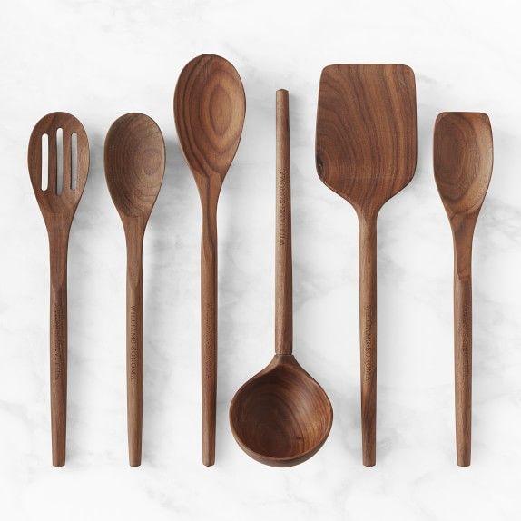 Williams Sonoma Walnut Wooden Kitchen Utensils Williams Sonoma In 2020 Wooden Kitchen Utensils Wood Utensils Utensil Set