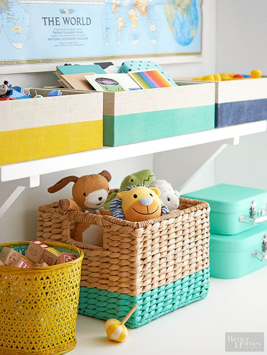 Don't settle for plain old storage baskets and boxes -- give 'em a little pizazz with spray paint.