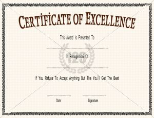 Excellence Certificate Template | Certificate Templates