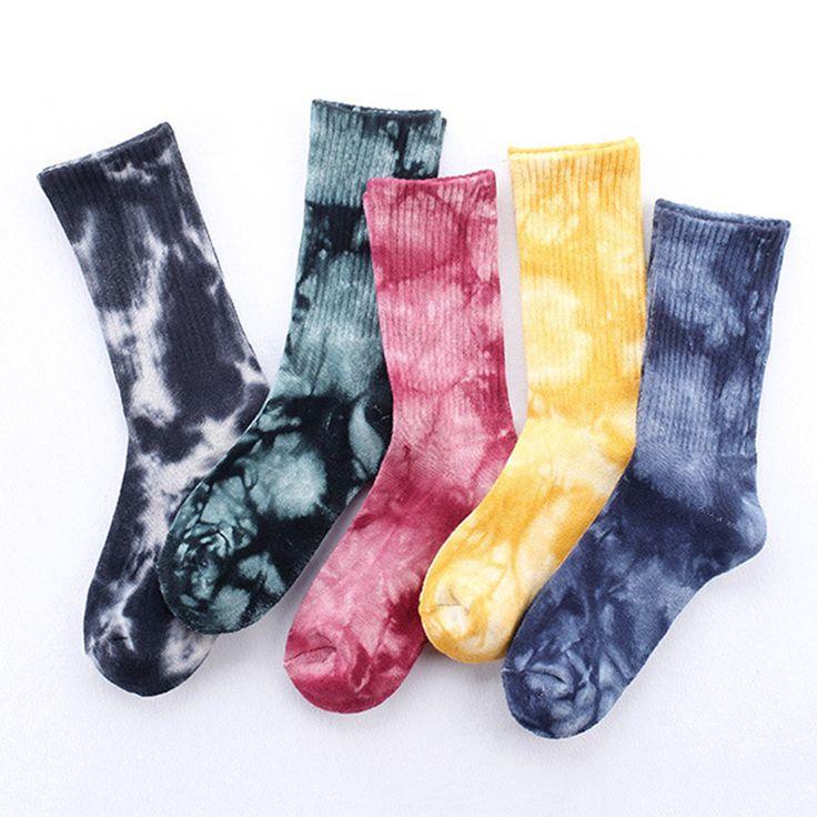 Men Tie-dye breathable Novelty Pattern Cotton socks