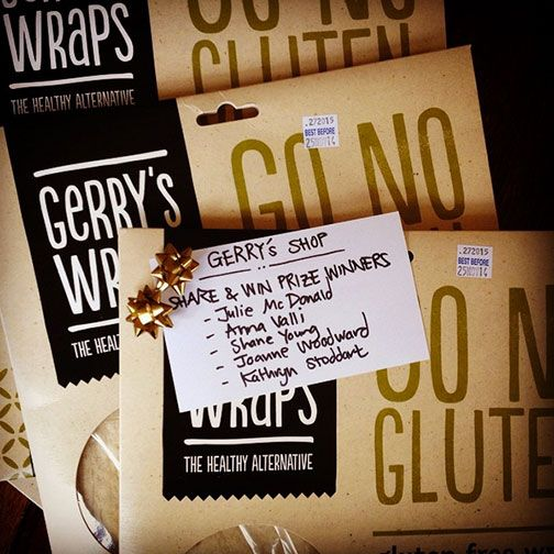 Congratulations to the winners of our Gerry's Go No Gluten Wraps giveaway - & thanks to all who took part. More promotions coming soon to celebrate the upcoming opening of our online shop - Happy Monday!