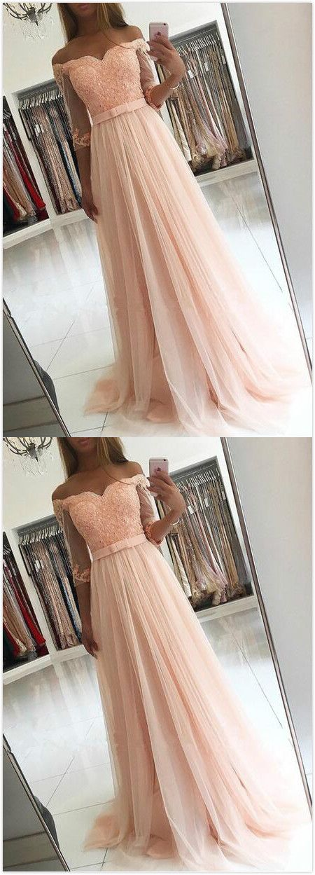 Charming Prom Dress,Short Sleeve Prom Dress,Cheap Prom Dress,Tulle Prom Dress, Appliques Prom Dress,Half-Sleeves Evening Dress