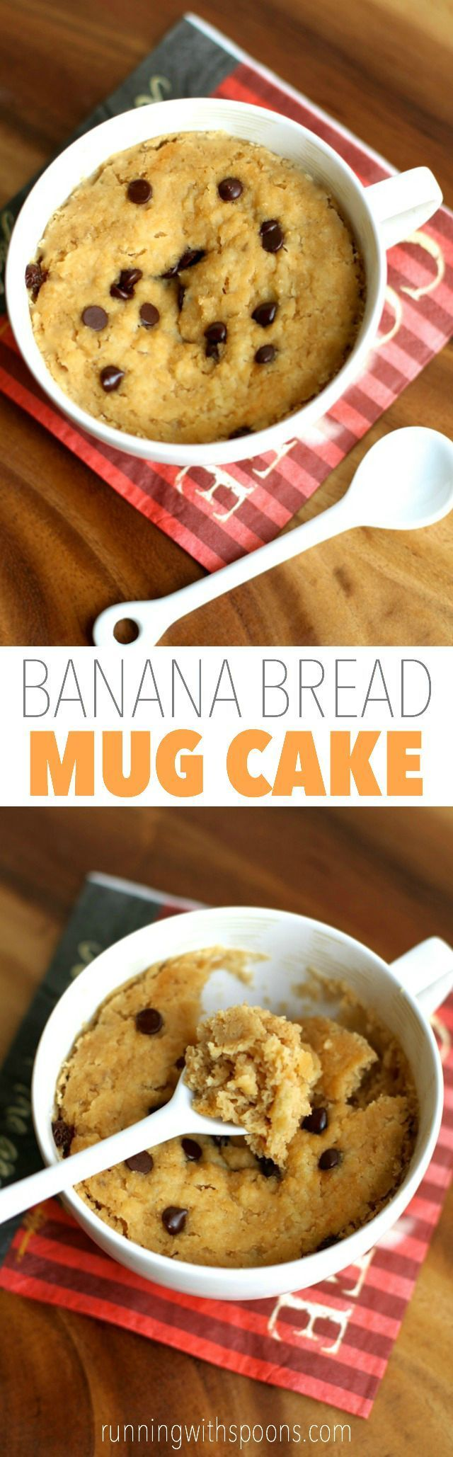 Banana Bread Mug Cake -- 5 minutes and 5 ingredients is all you need to make this healthy and delicious vegan mug cake! || runningwithspoons.com #glutenfree #vegan #recipe