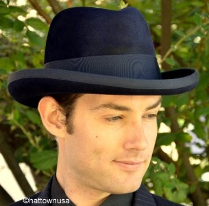 New Men's High Quality Fur Felt Black Homburg Godfather Biltmore Fedora Dress Hat