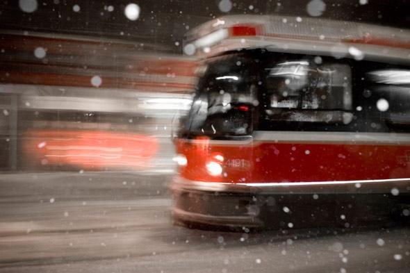 toronto streetcar in the snow.