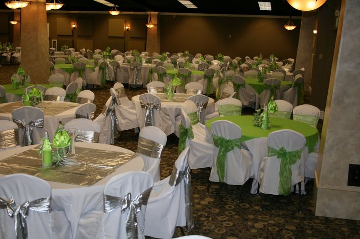 Green Quinceanera Decorations Chair Covers With Silver