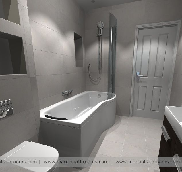 3D bathroom design with shower over the bath