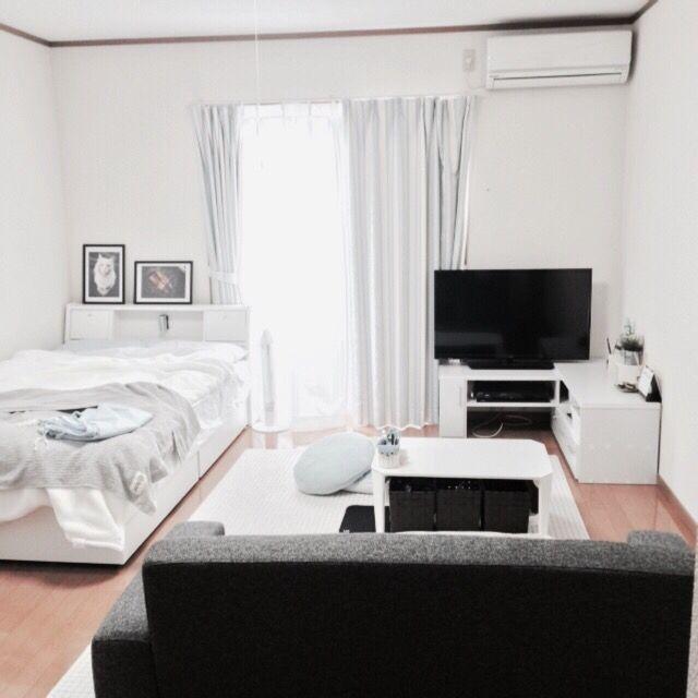 chackyさんの、部屋全体,一人暮らし,1K,水色,noce,ホワイト,グレー,ものの少ない暮らし,のお部屋写真