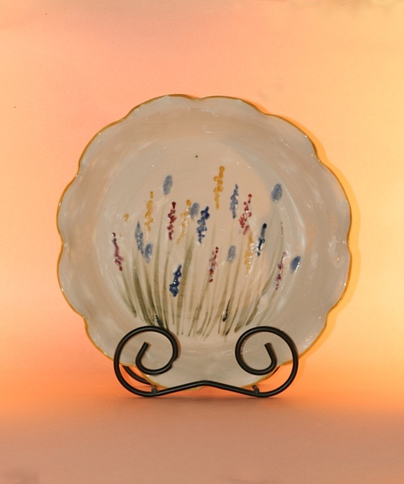 Floral Designs on Porcelain: Deep Dish Fluted Pie Plate with MA Flower Decoration  Sizes: 11 inch, 9 inch or 6 inch