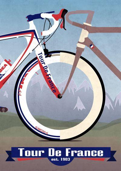 Tour De France Art Print....Reflection of 1903-2013...Cool!