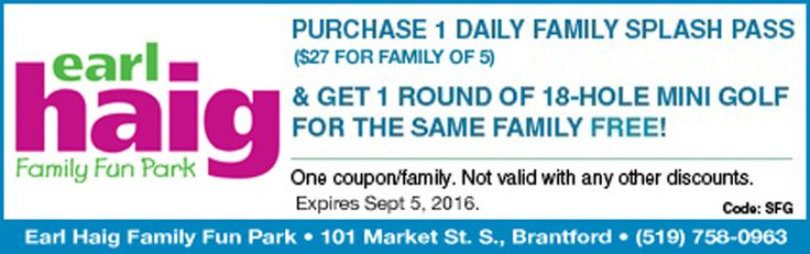 Earl Haig Coupon - Buy 1 Family Splash Pass, Get 1 Round Mini Golf FREE