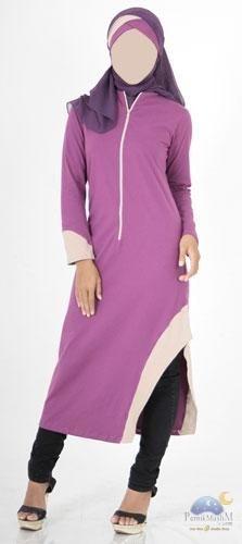 Blus Asimetris 7/8  Ungu - Vannara 238 Blus Muslimah 7/8 asimetris dengan warna ungu + coklat susu. Blus ini dilengkapi dengan aplikasi resleting di bagian depan baju.  Aplikasi warna terletak pada ujung lengan dan pada bagian samping pada belahan blus. Blus ini bisa digunakan untuk acara-acara outdoor juga dikarenakan bahanya yang dingin dan nyaman untuk dipakai.  Available Size: XS, S, M, L, XL