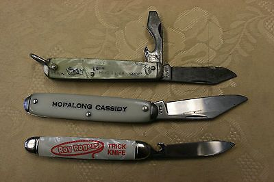 3 Collectible Vintage Pocket Knifes, Hopalong Cassidy, Roy Rogers,Lone Ranger