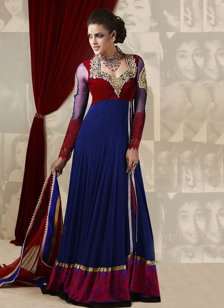 Credible blue with marron embroidery in bottom extra long Anarkali Suit $112 USD