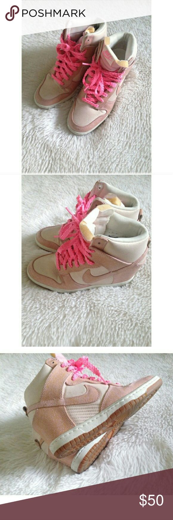 Nike wedge sneakers light pink hot pink laces Great condition Nike wedge sneakers, only worn a couple times, very cute Nike Shoes Sneakers