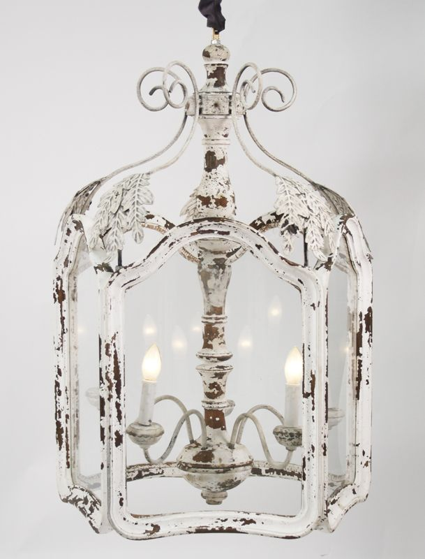 Amelie Distressed Chandelier   The Amelie Distressed Chandelier is perfect lighting for an entrance hall, bathroom or even back porch area. This light fixture is big on style and will enhance your French country home. The clear-cut glass encloses a softly burning candle for a romantic glow that will never flame out.